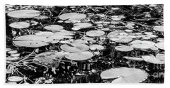 Lily Pads, Black And White Beach Sheet