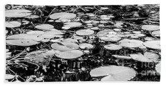 Lily Pads, Black And White Beach Towel