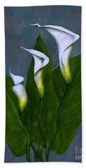 White Calla Lilies Beach Sheet by Peter Piatt