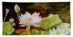 The Lily Pond - Painting  Beach Towel