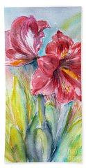 Lily Red Beach Towel by Jasna Dragun