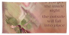 Beach Towel featuring the digital art Lily Text - Et01b by Variance Collections