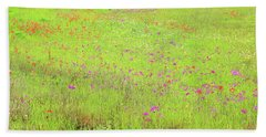 Beach Towel featuring the digital art Lime And Hot Pink Field by Ellen Barron O'Reilly