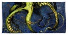 Lime Green Octopus With Net Beach Sheet