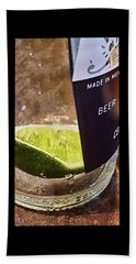 Lime Slice In Cervesa Bottle Beach Towel by Greg Jackson