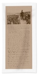 Lincoln And The Gettysburg Address Beach Towel