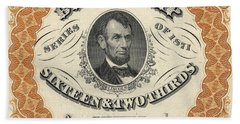 1871 Lincoln Beer Tax Stamp Beach Towel
