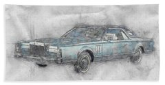 Lincoln Continental Mark V 1 - 1977 - Automotive Art - Car Posters Beach Towel