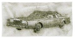 Lincoln Continental Mark V - 1977 - Automotive Art - Car Posters Beach Towel