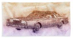 Lincoln Continental Mark V 2- 1977 - Automotive Art - Car Posters Beach Towel