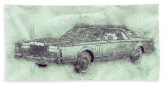 Lincoln Continental Mark V 3 - 1977 - Automotive Art - Car Posters Beach Towel