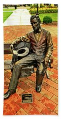 Beach Towel featuring the photograph Lincoln Library Statue 004 by George Bostian
