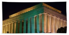 Lincoln Memorial At Night Beach Sheet