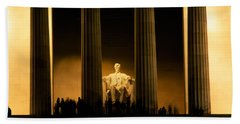 Lincoln Memorial Illuminated At Night Beach Towel