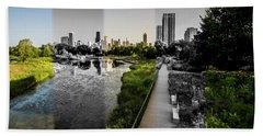 Lincoln Park Time Slice Chicago Skyline Beach Towel