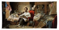 Lincoln Writing The Emancipation Proclamation Beach Towel by War Is Hell Store