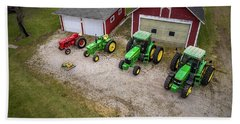 Lining Up The Tractors Beach Towel