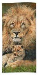 Lion And Cub Beach Sheet by David Stribbling