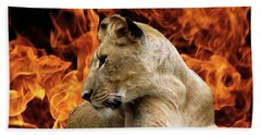 Lion And Fire Beach Towel by Inspirational Photo Creations Audrey Woods