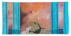 Lion And Lamb Beach Towel