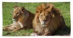 Lion And Lioness Beach Sheet