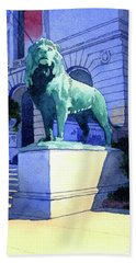 Lion At The Art Institue Of Chicago Beach Towel