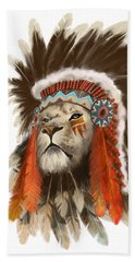 Lion Chief Beach Towel by Sassan Filsoof
