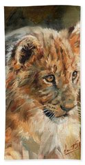 Beach Sheet featuring the painting Lion Cub Portrait by David Stribbling