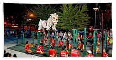 Lion Dance Celebration Beach Towel