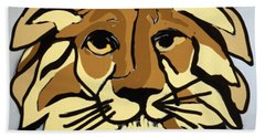 Beach Towel featuring the drawing Lion Front by Erika Chamberlin