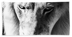 Lion Head Face Eyes Mane Front View Macro Close Up Black And White Beach Towel