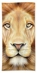 Lion Head In Color Beach Towel