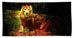 Beach Towel featuring the photograph Lion In The Wilderness by Annie Zeno