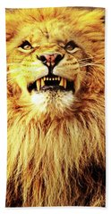 Beach Towel featuring the photograph Lion King Smiling by Ayasha Loya