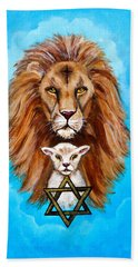 Beach Towel featuring the painting Lion Lies Down With A Lamb by Bob and Nadine Johnston