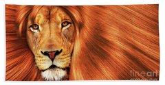 Lion  Beach Towel by Prar Kulasekara