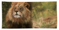 Beach Sheet featuring the painting Lion Resting by David Stribbling