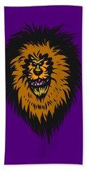 Lion Roar Purple Beach Towel