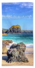 Lion Rock From Kynance Cove Beach Towel