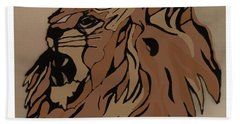 Beach Towel featuring the drawing Lion Side by Erika Chamberlin