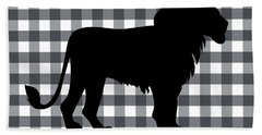 Lion Silhouette Beach Towel