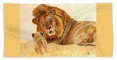 Lion Watercolor Beach Towel