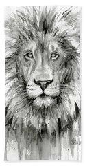Lion Watercolor  Beach Towel by Olga Shvartsur