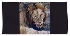 Lion With Tongue Beach Sheet