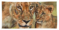 Beach Sheet featuring the painting Lioness And Cub by David Stribbling