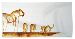 Lioness And Cubs Small - Original Artwork Beach Towel