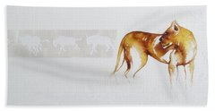 Lioness And Wildebeest Beach Towel