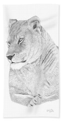 Beach Towel featuring the drawing Lioness by Patricia Hiltz