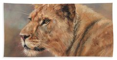 Beach Sheet featuring the painting Lioness Portrait by David Stribbling