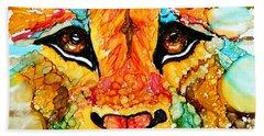 Lion's Head Gold Beach Towel